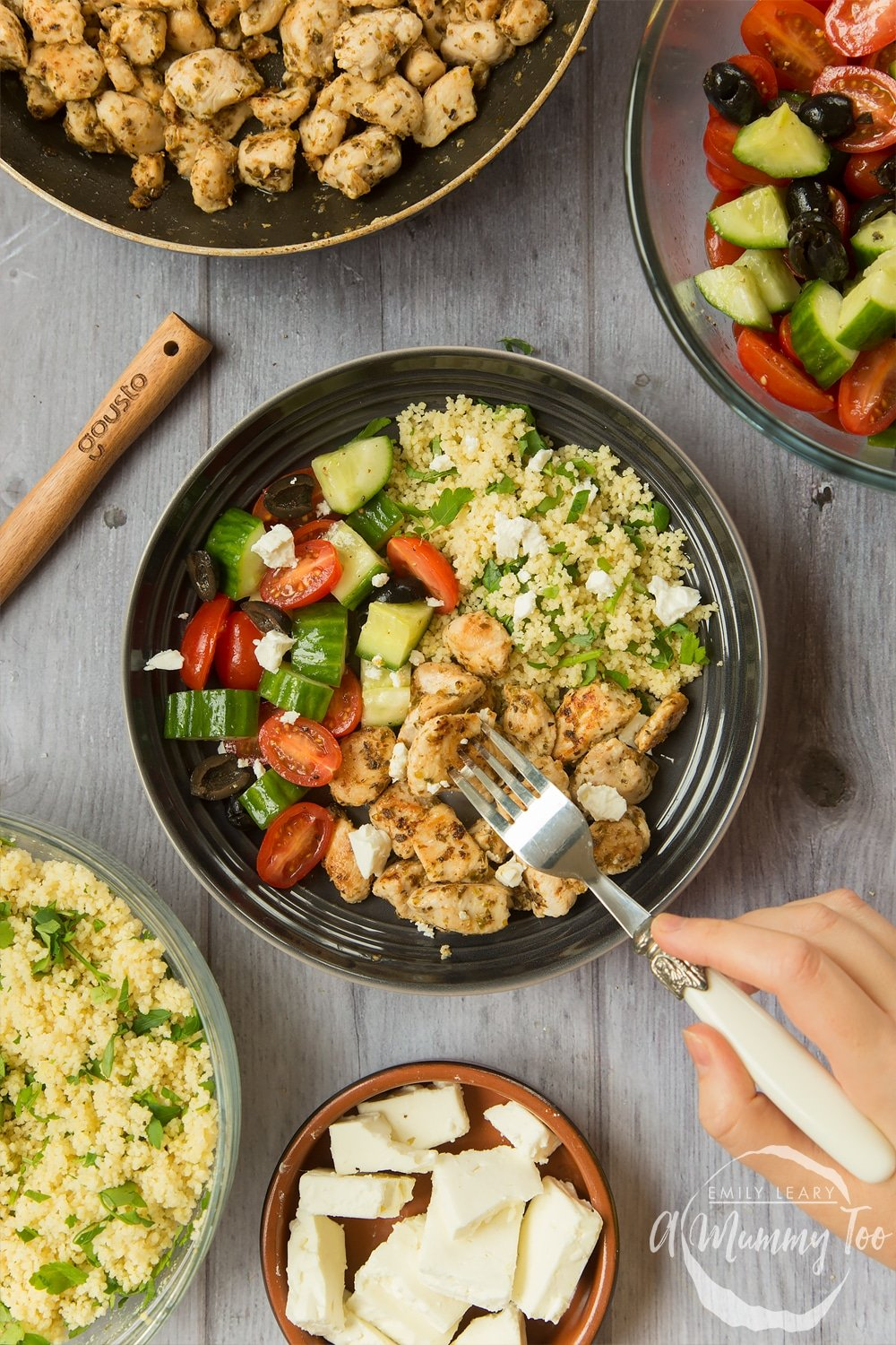 This speedy Greek chicken salad recipe is from the Gousto x Joe Wicks collaboration, shown here in a bowl
