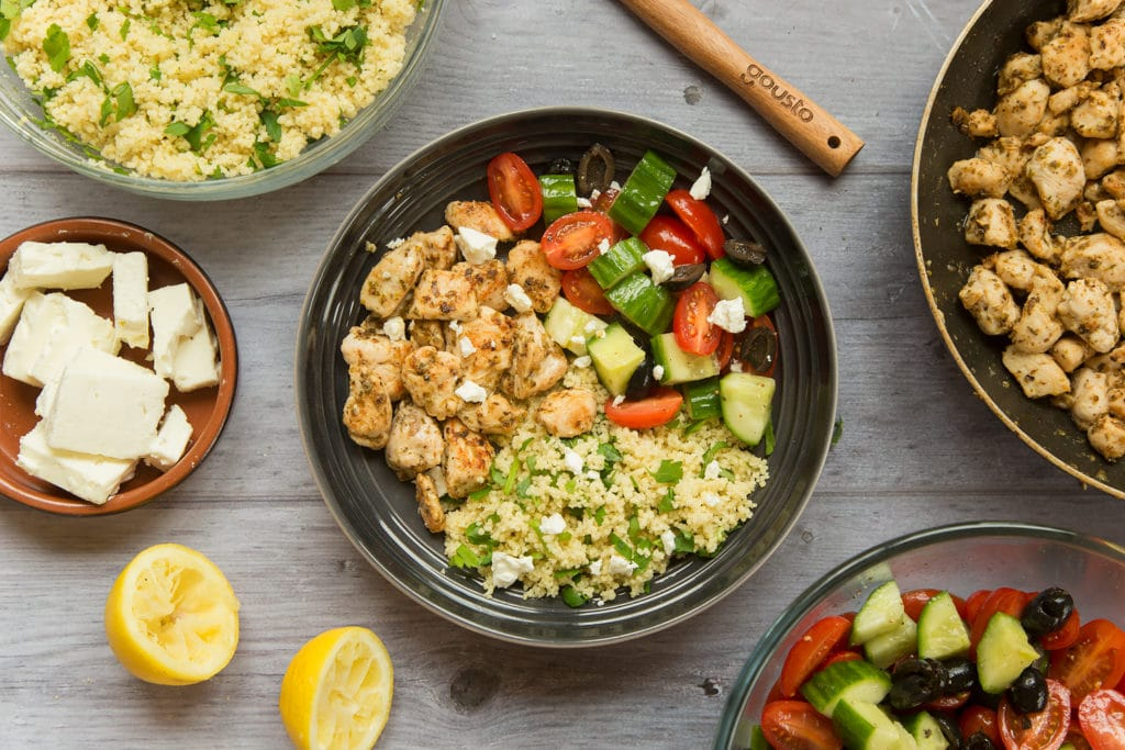 Combine the chicken, salad and herby couscous to make this tasty Greek chicken salad