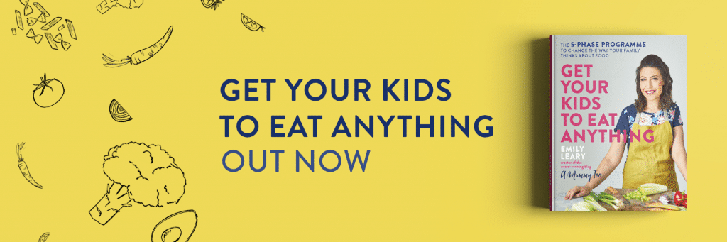Get Your Kids to Eat Anything book cover on a yellow banner