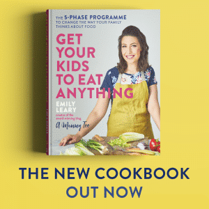 Get Your Kids to Eat Anything book cover on a yellow banner with the caption Out Now