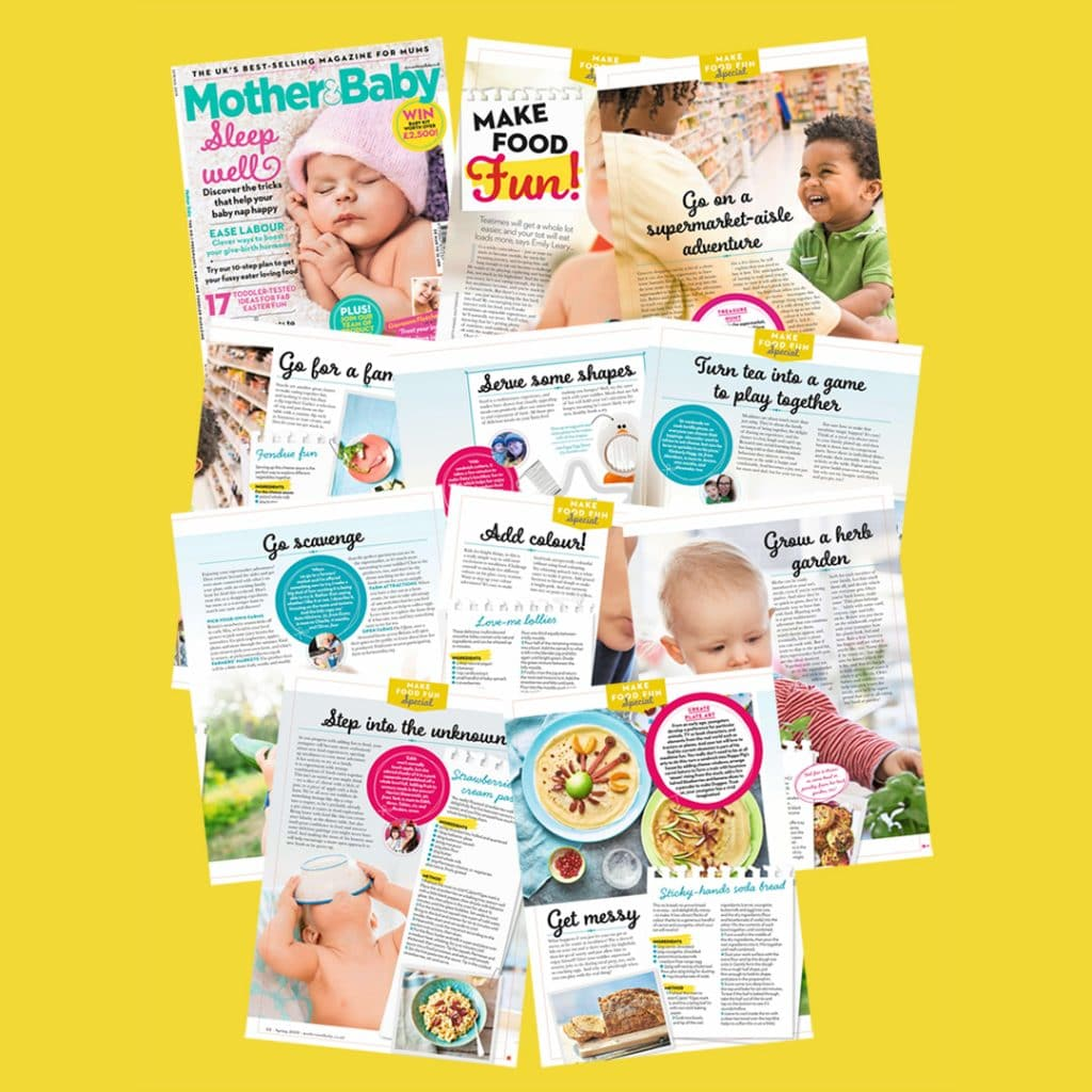 Spring 2019 issue of Mother and Baby Magazine Collage with tips, tricks and recipes from Get Your Kids to Eat Anything