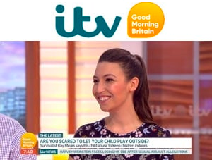 Emily Leary on Good Morning Britain sharing her opinion on whether or not children are safe to play outside