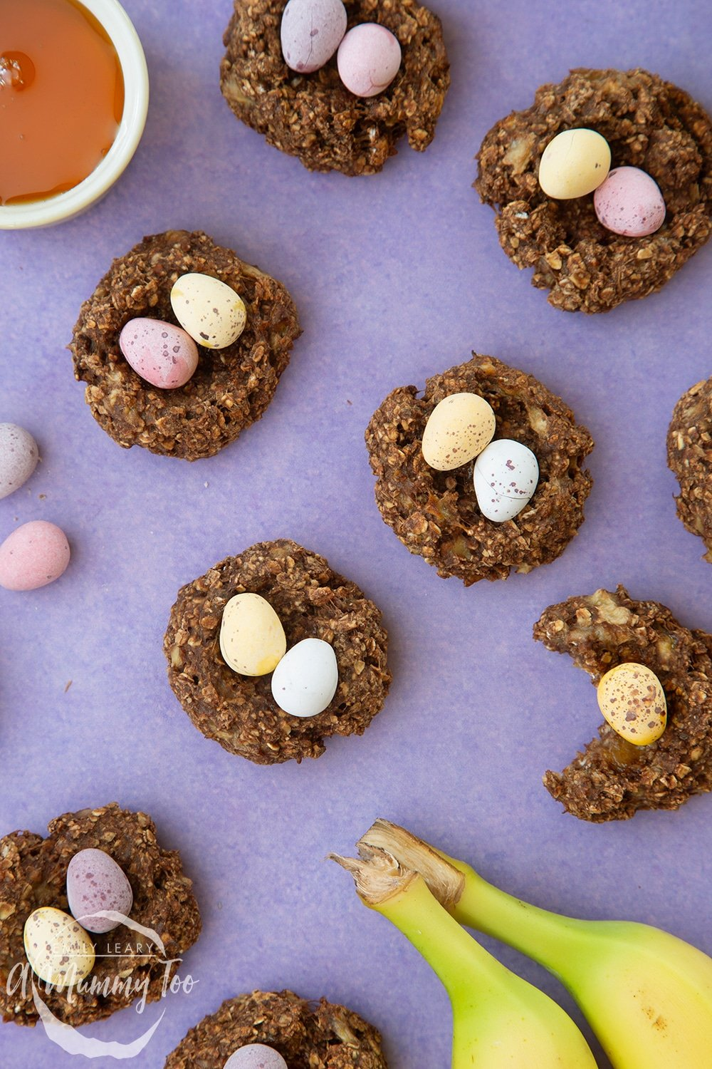 Healthier Easter chocolate nest cookies topped with mini chocolate eggs