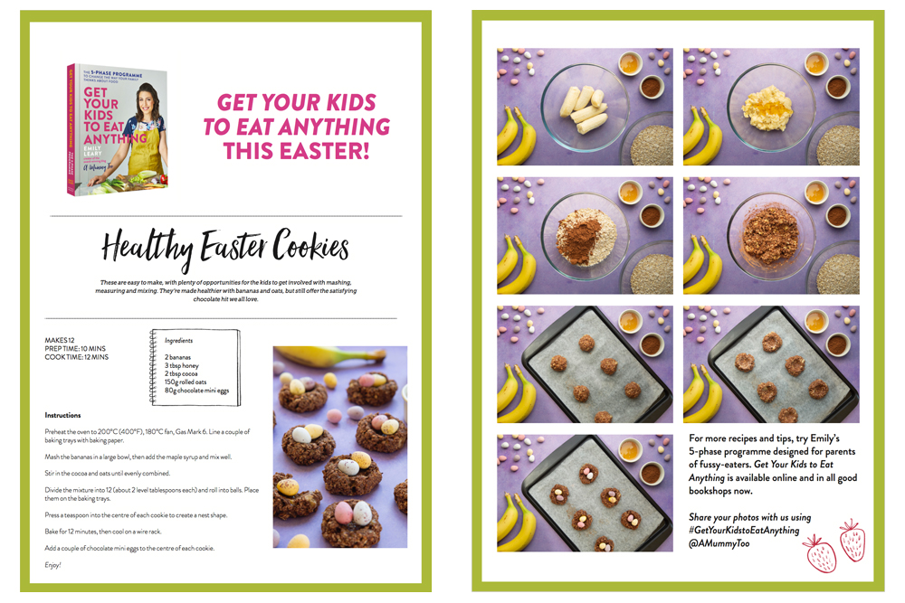 Free PDF download to make these Easter chocolate nest cookies at home
