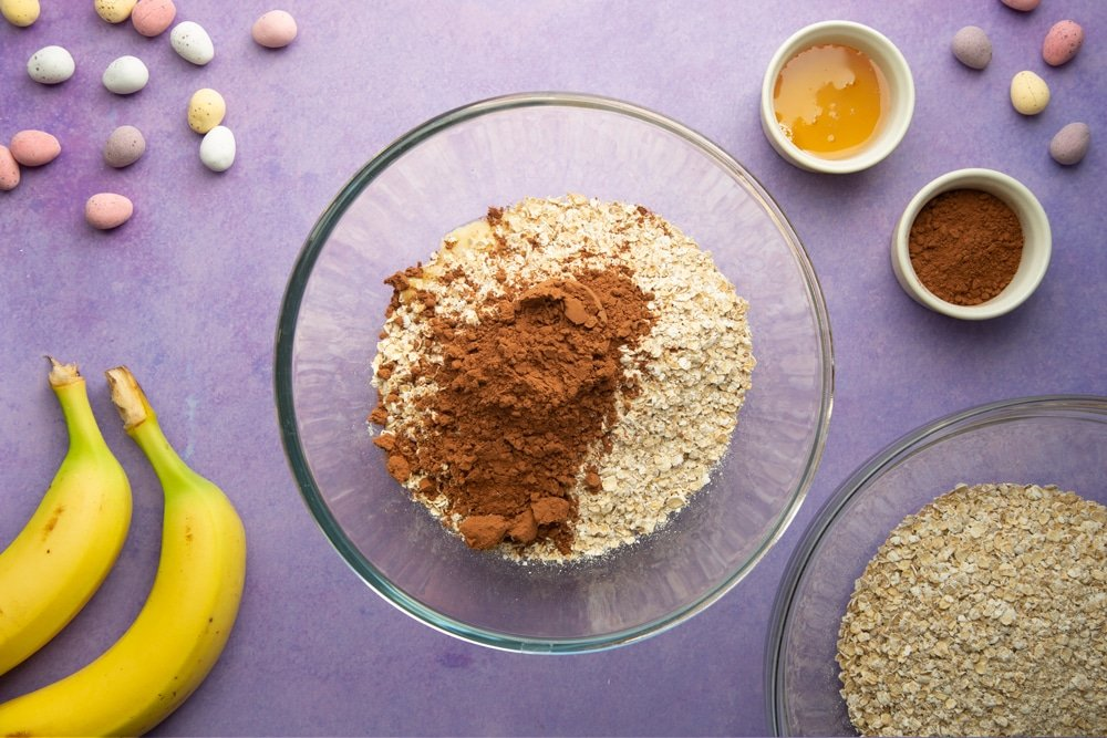 Cocoa and oats are added to the mix