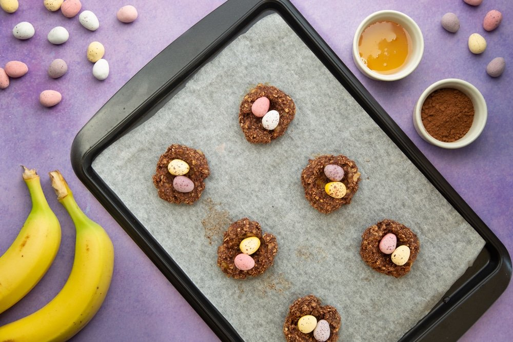 Top the Easter chocolate nest cookies with mini chocolate eggs