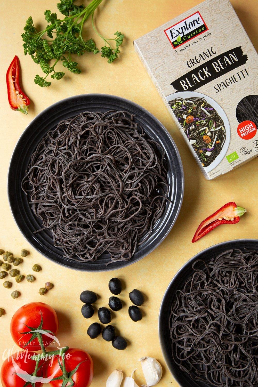 The Explore Cuisine Organic Black Bean Spaghetti rinced and served ready for the filling to create our spaghetti alla puttanesca