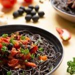 Spaghetti alla puttanesca with black bean spaghetti