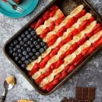 4th July brownie flag with peanut butter and fruit