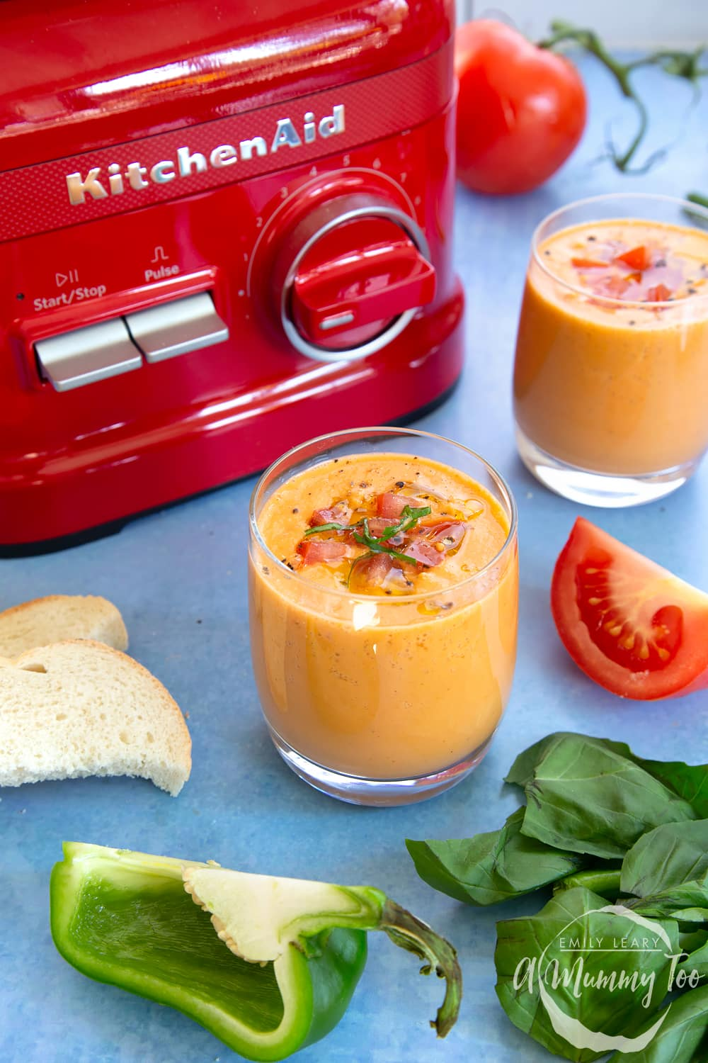 Finished vegan gazpacho served in a glass