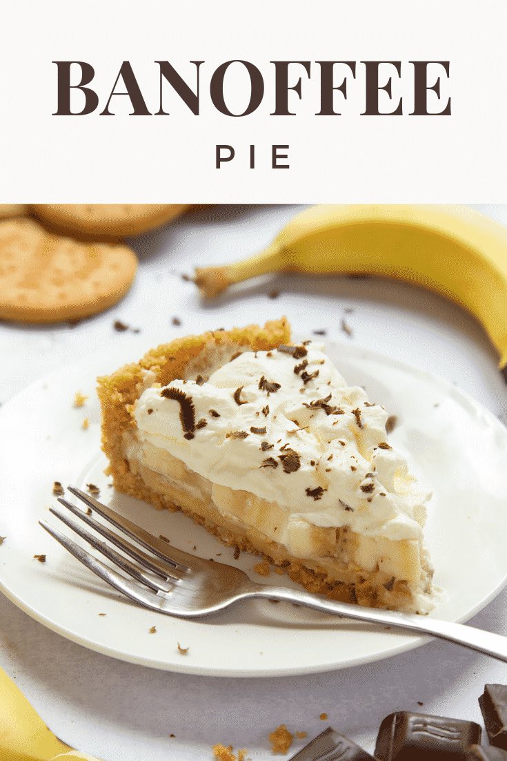 Close up image of a slice of banoffee pie on a plate with a fork