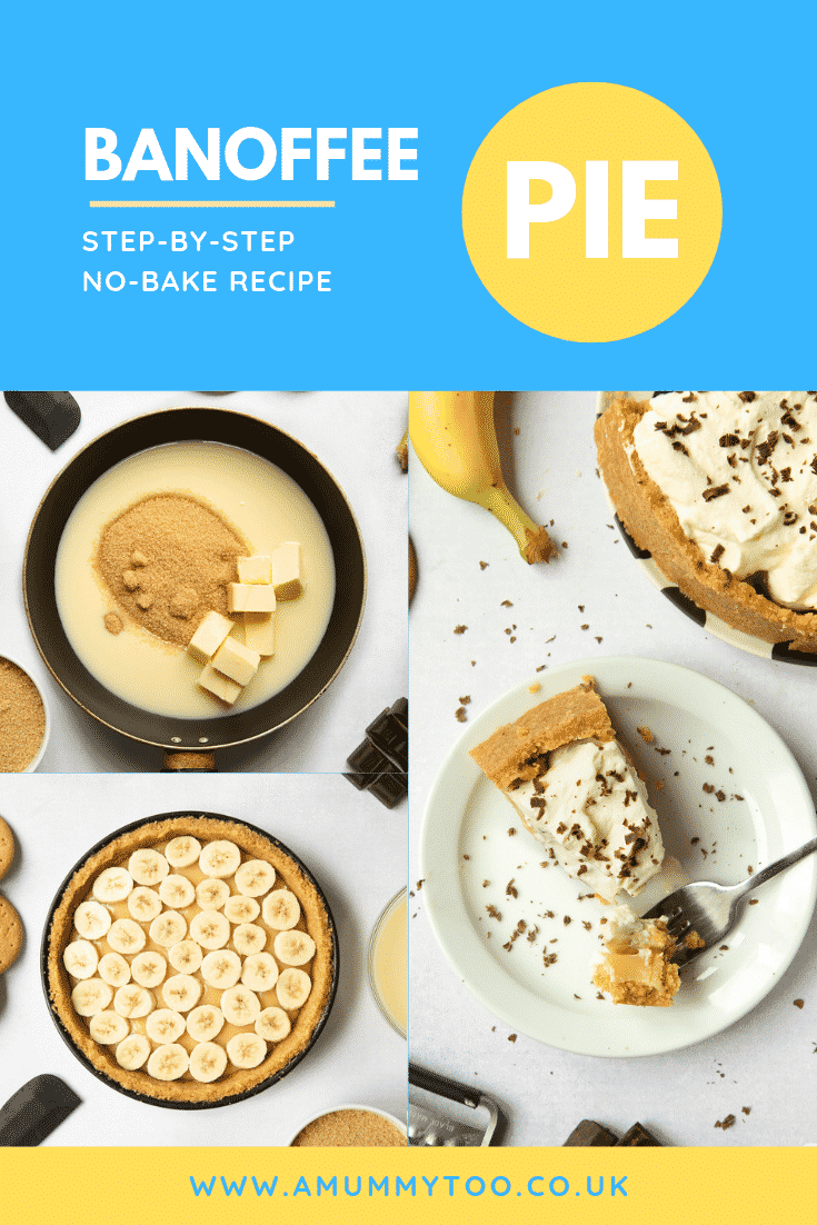 A collage of images showing how this banoffee pie is made