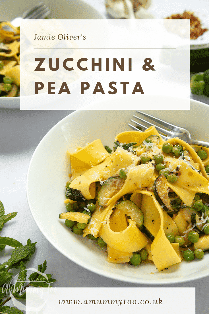 Close up image of the courgette and pea pasta. At the top of the image there's some brown text describing the image for Pinterest.