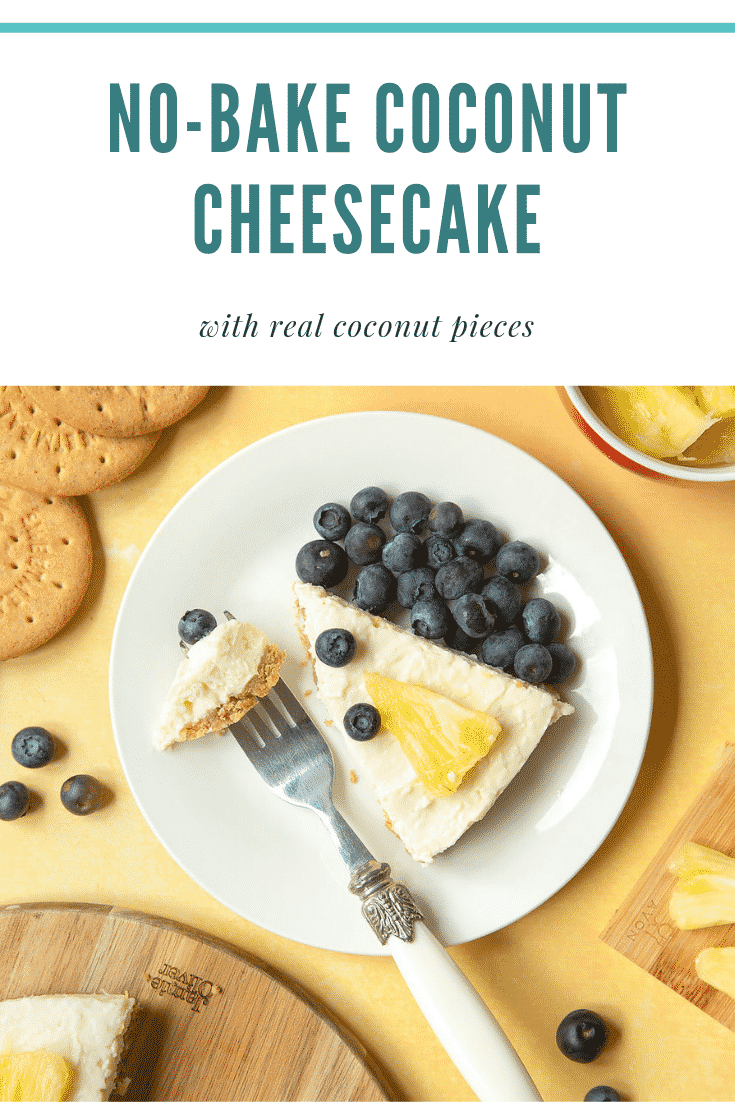 Coconut cheesecake decorated with fruit and served as a slice on a plate