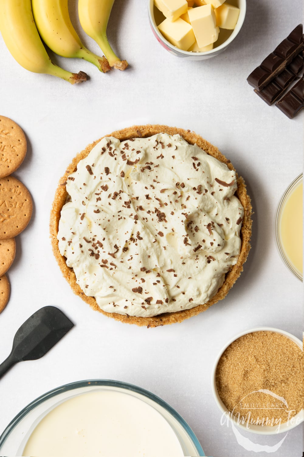 The perfect classic banoffee pie, shown from above