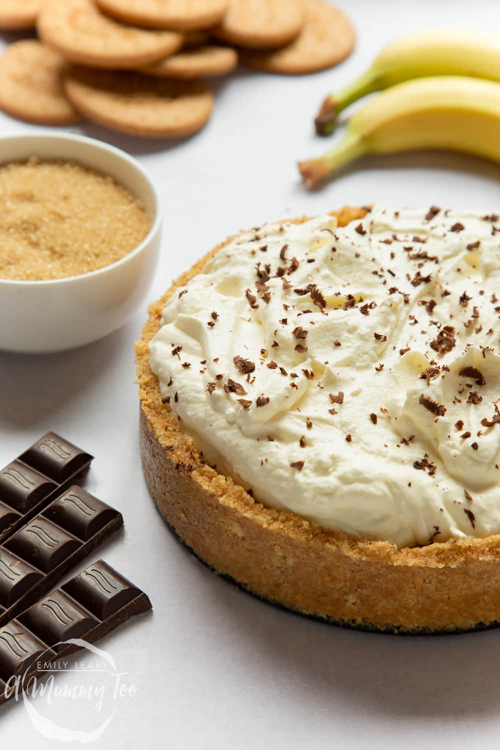 The perfect classic banoffee pie recipe - full pie showing the biscuit crust