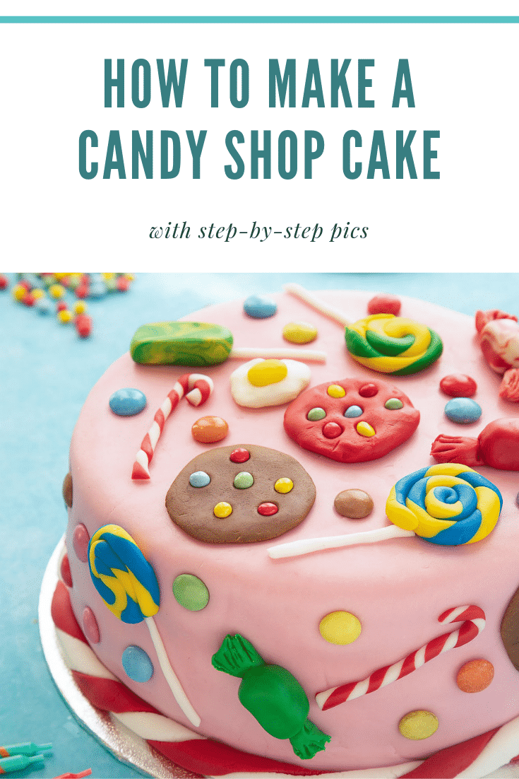 Try baking this candy shop cake! A Victoria sandwich filled with jam and buttercream, covered sugar paste candy sweets, cookies and treats.
