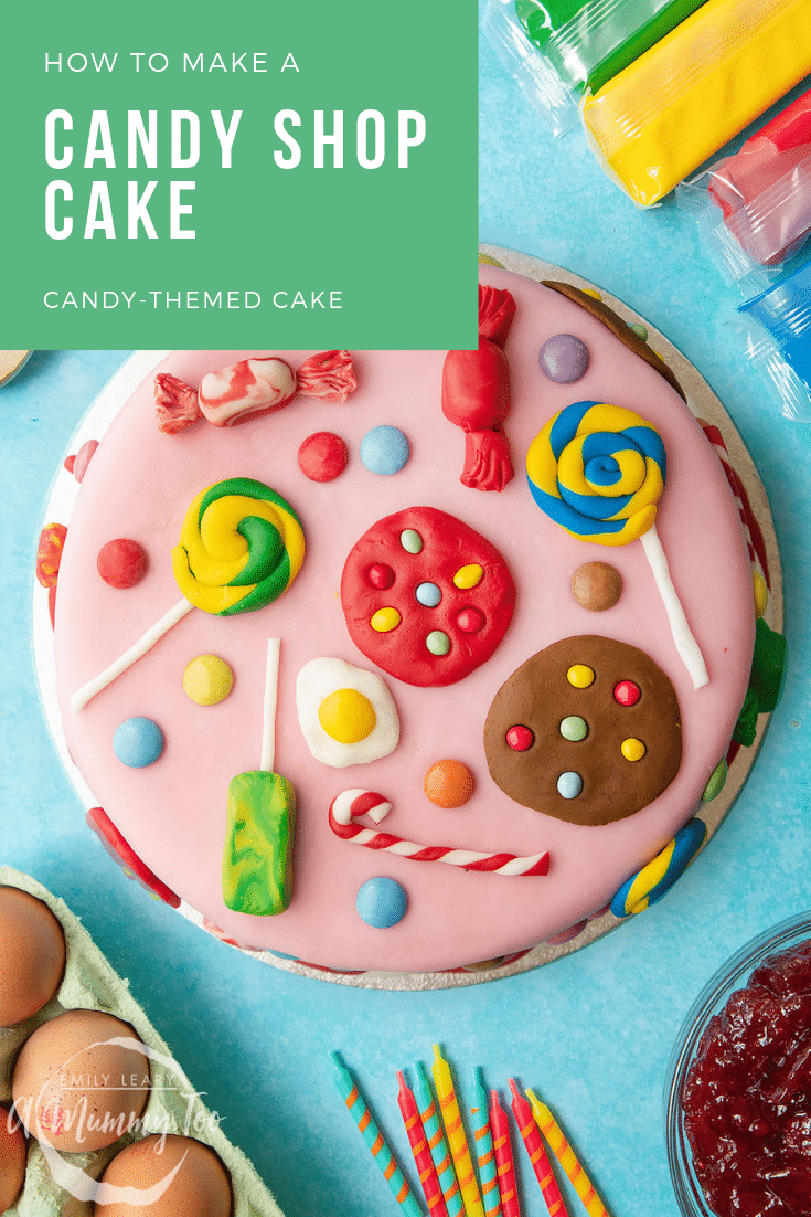 How to make a candy shop cake! A Victoria sandwich filled with jam and buttercream, covered sugar paste candy sweets, cookies and treats.