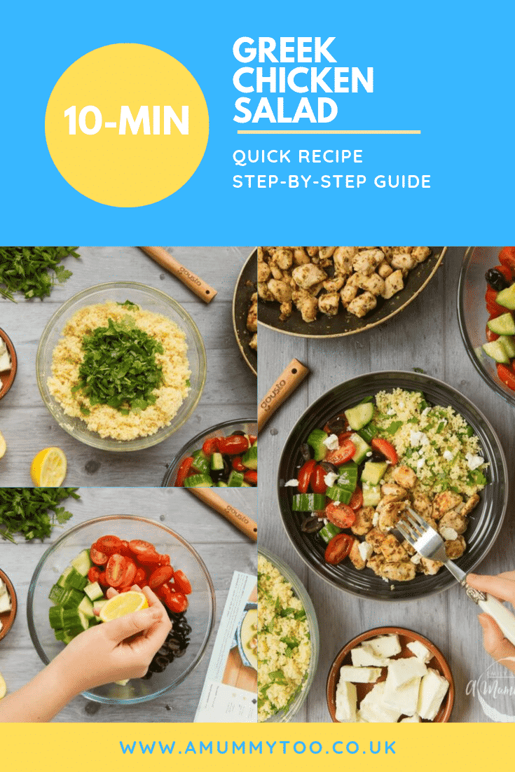 Three process images demonstating how to make the greek chicken salad. At the top of the image there is some text describing the image for Pinterest.
