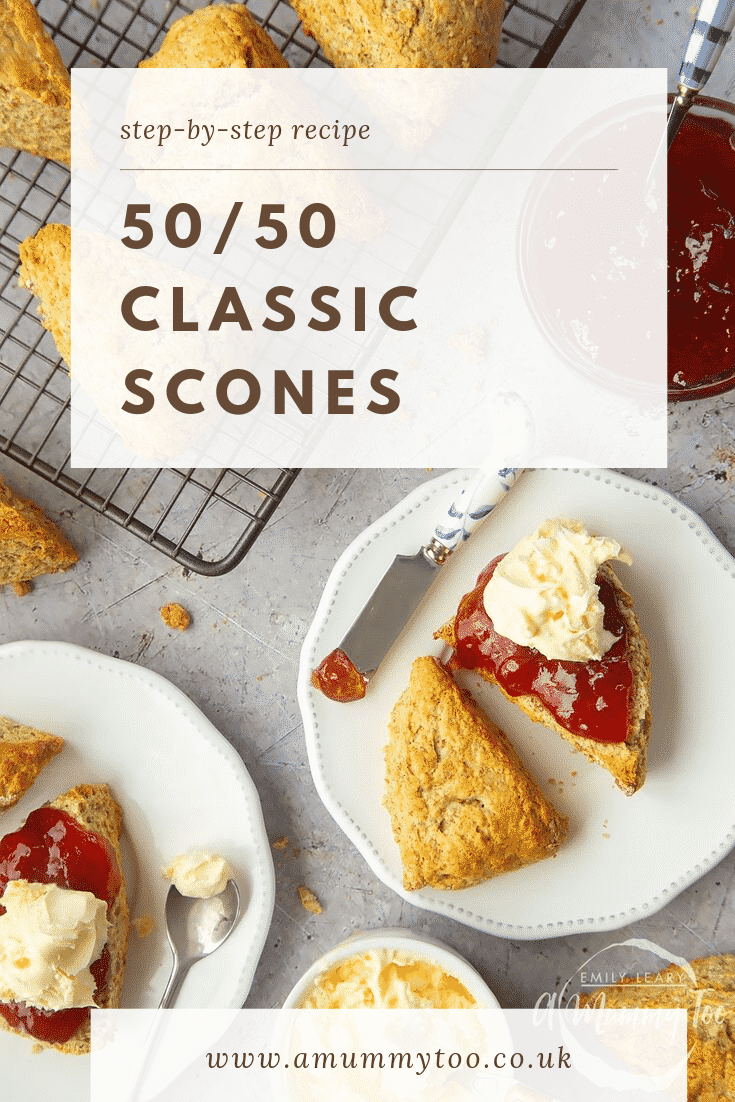 Overhead shot of two plates with 50/50 scones covered in cream and jam. At the top of the image there's some text describing the image for Pinterest.