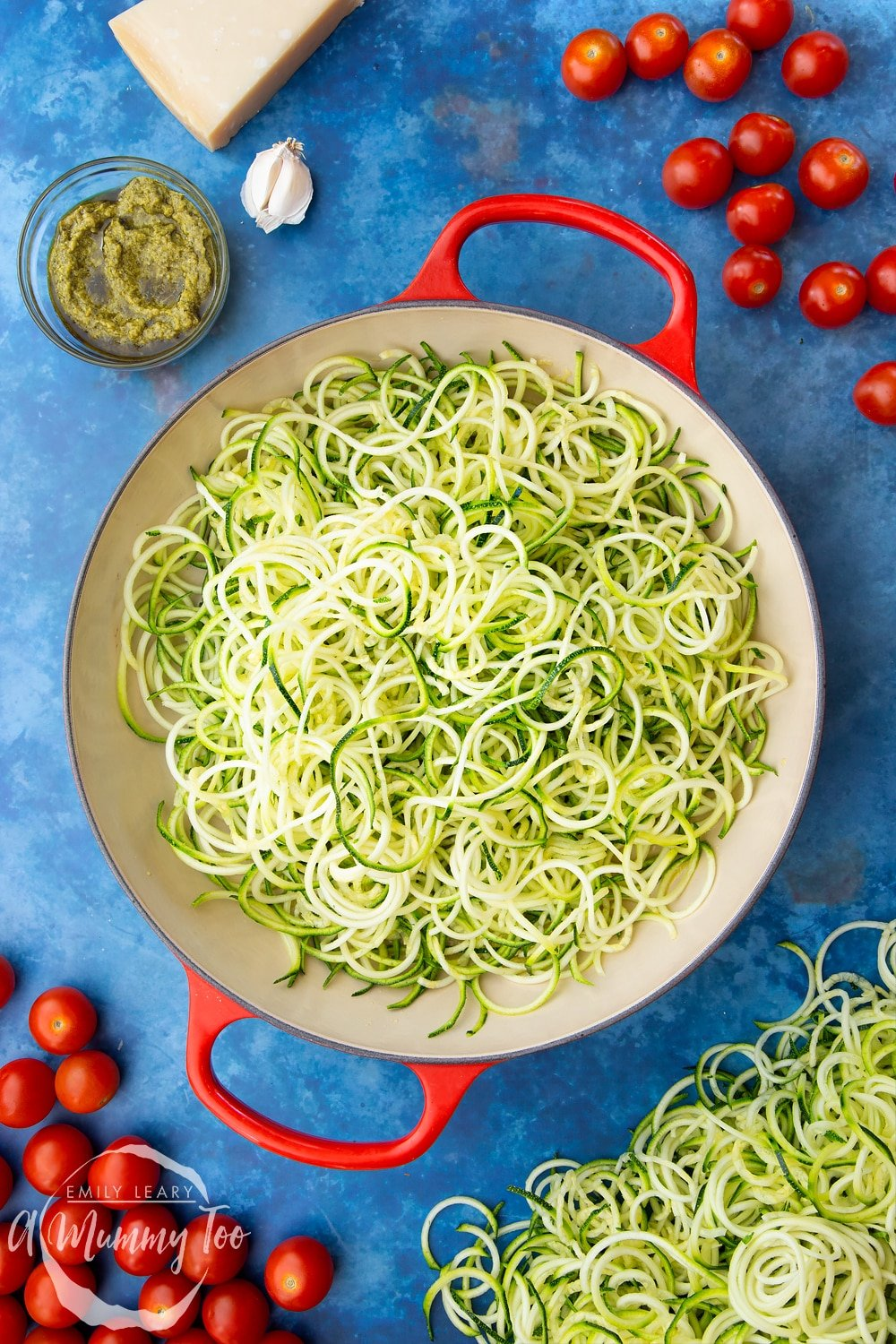 Cooked spiralised courgette in a frying pan