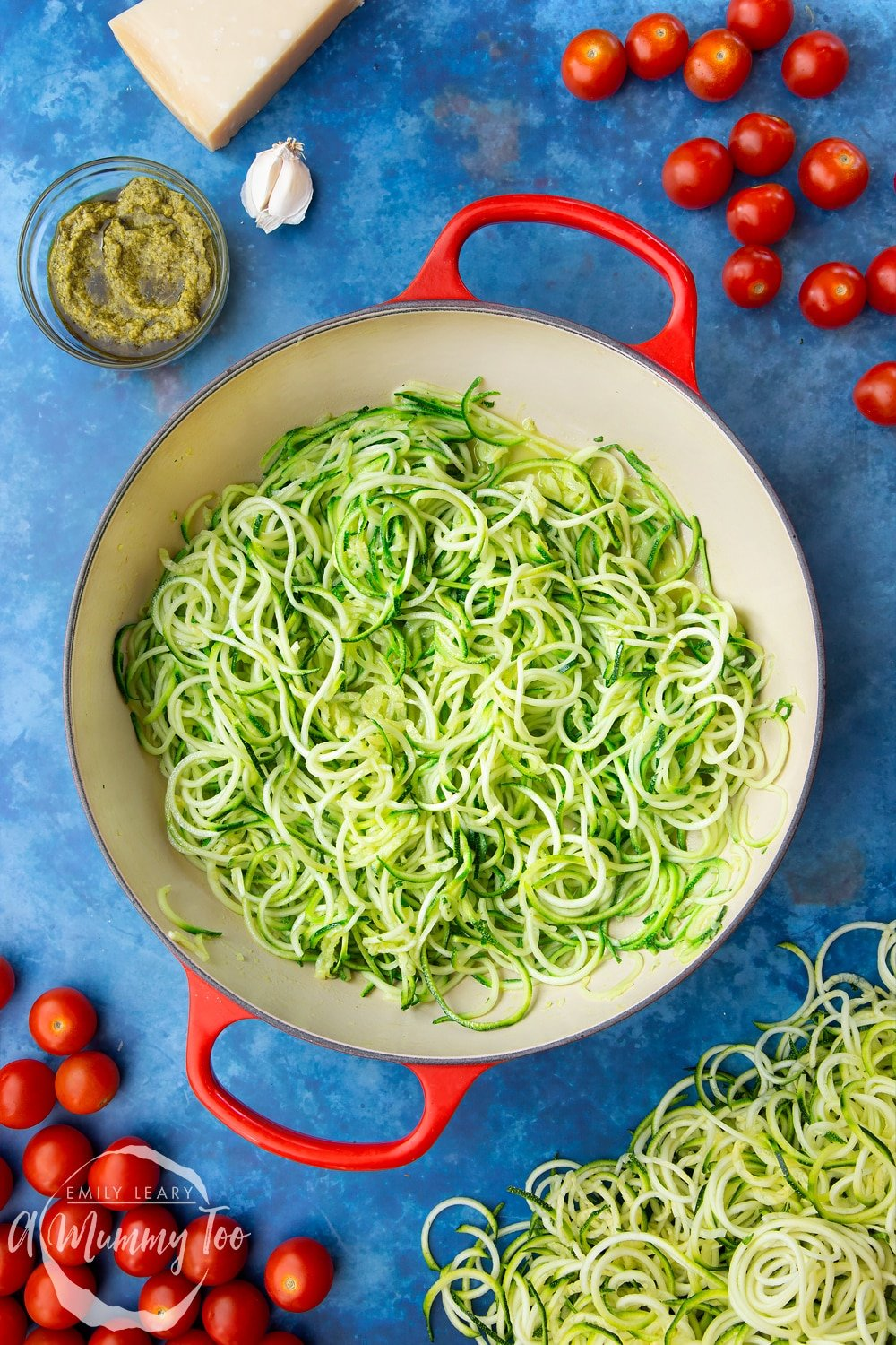 Cooked spiralised courgette in a frying pan, cooked