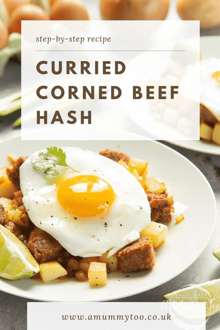 Curried corned beef hash on a white plate. At the top of the image there's some text describing the image for Pinterest.