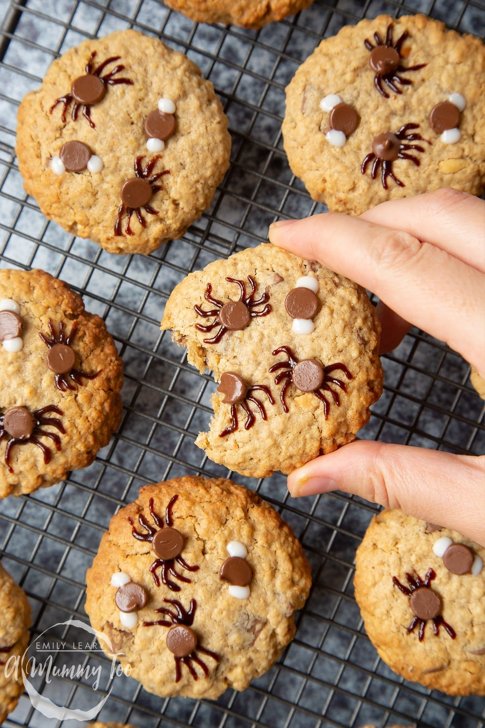 Full decorated Halloween peanut butter spider cookies on a wire rack. A hand is holding a cookie, which has a bite taken out of it.