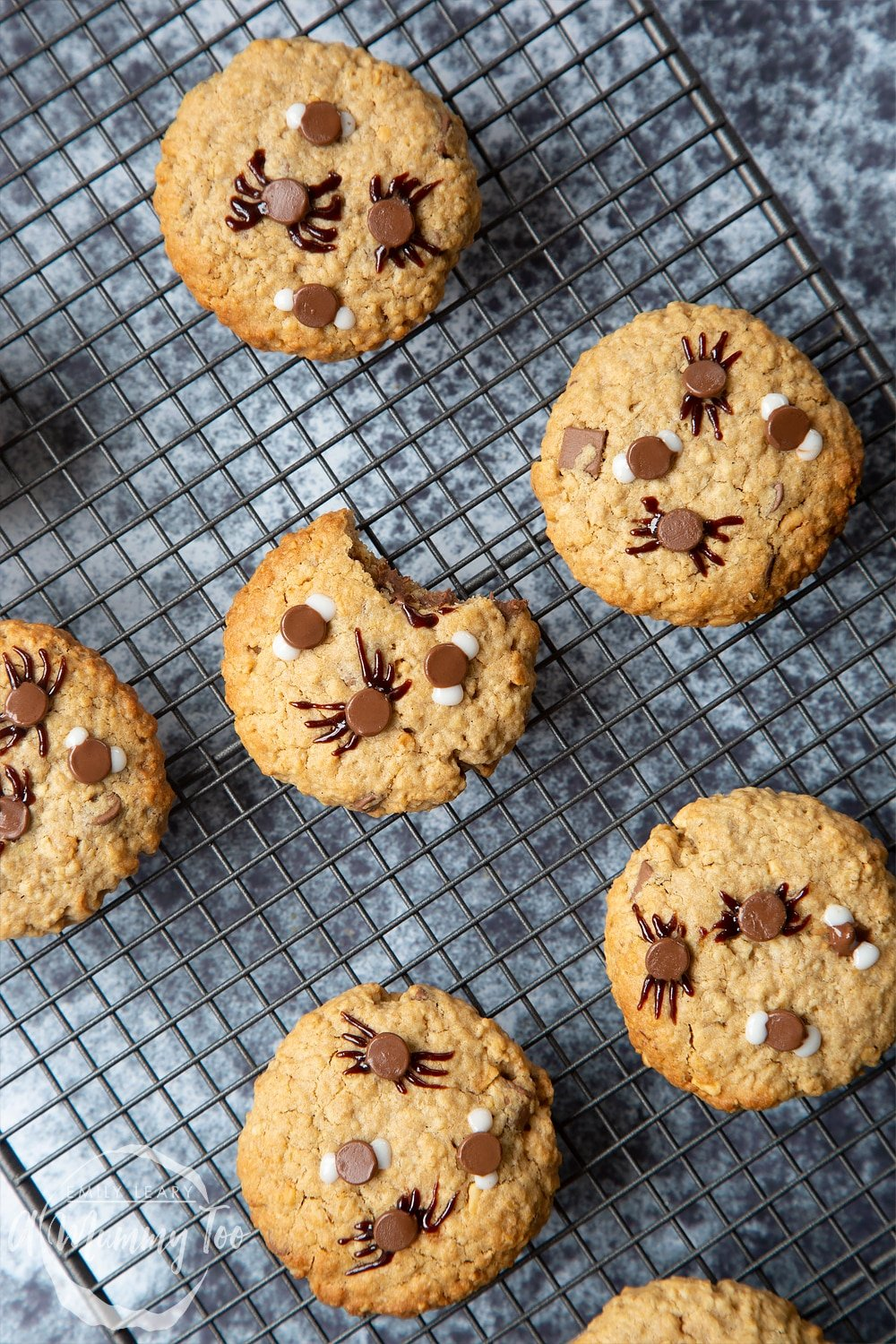 Halloween peanut butter spider cookies cooling on a wire rack. A bite is taken out of one cookie.