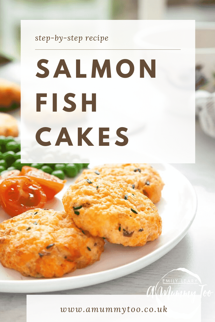 Close up of some baked salmon fish cakes on a white plate with a side of veg. At the top of the image there's a white background with some text describing the image for Pinterest.