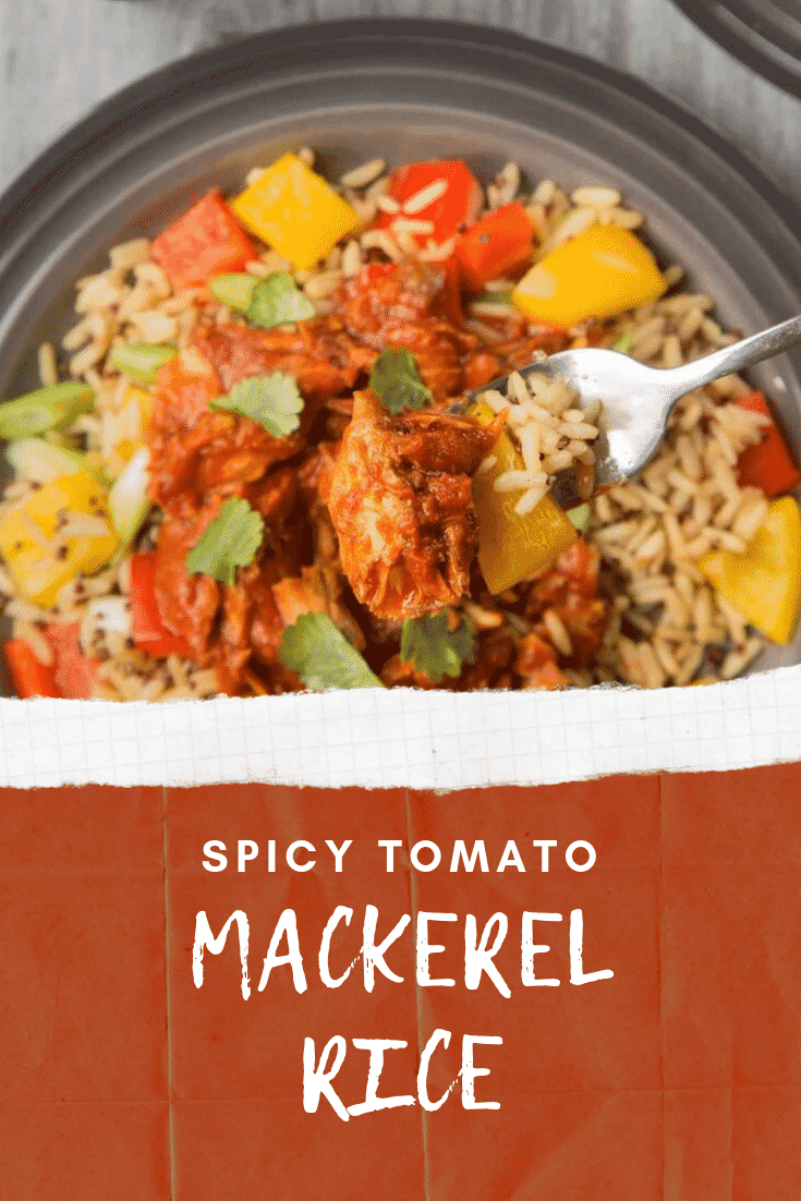 Close up overhead photo of the Spicy Tomato Mackerel with Rice. At the bottom of the image there's some white text on a red background describing the image for Pinterest.
