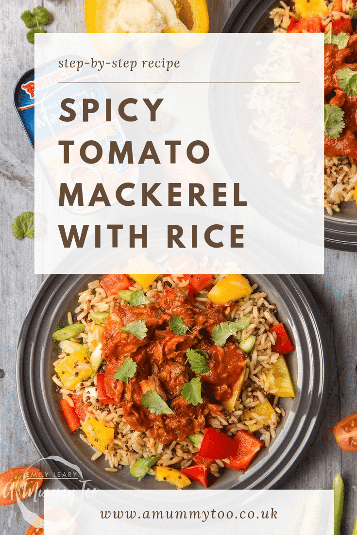 Overhead shot of two plates of Spicy Tomato Mackerel with Rice on a wooden table. At the top of the image there's some text describing the image for Pinterest.