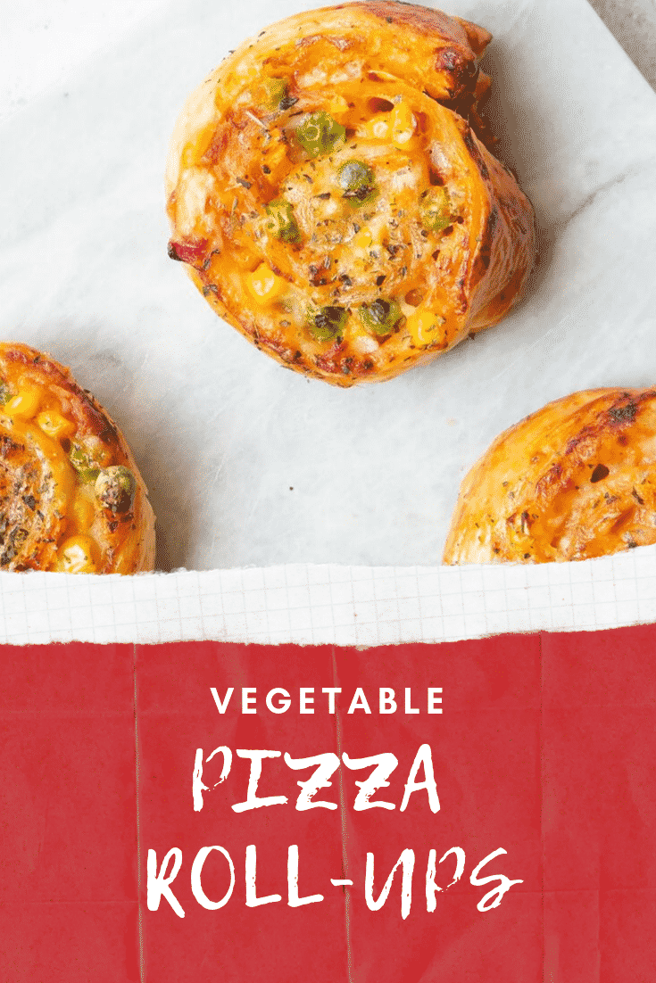 Close up of the  Veggie Pizza Roll Ups. At the bottom of the page there's some white text on a red background describing the image for Pinterest.