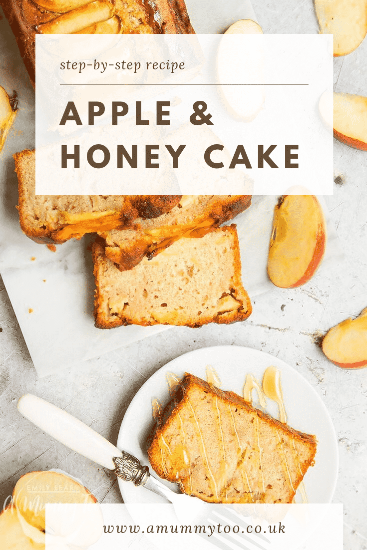 Sliced apple and honey cake served on a white plate with a decoative fork on the side. The cake slice is topped with a drizzle of honey. At the top of the image there is some brown text describing the image for Pinterest.