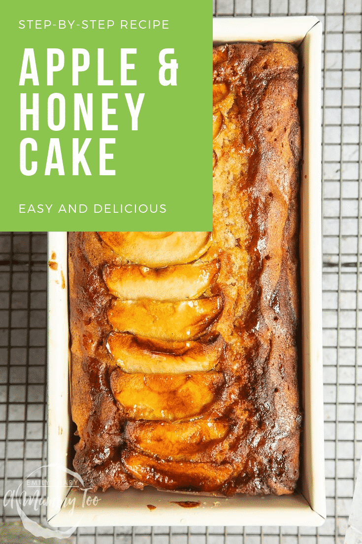 Overhead shot of the apple and honey cake cooling on a wire rack. In the topo left hand corner there is some white text on a green background describing the image for Pinterest.