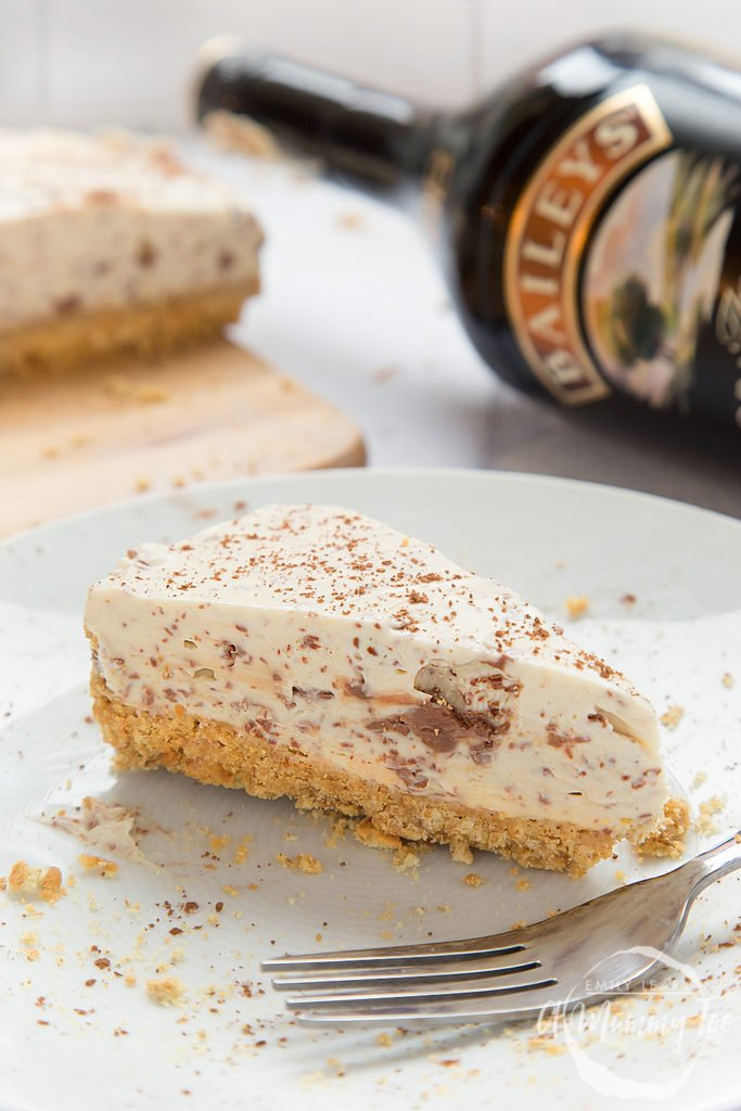 Slice of amazing no-bake Baileys chocolate cheesecake on a plate.