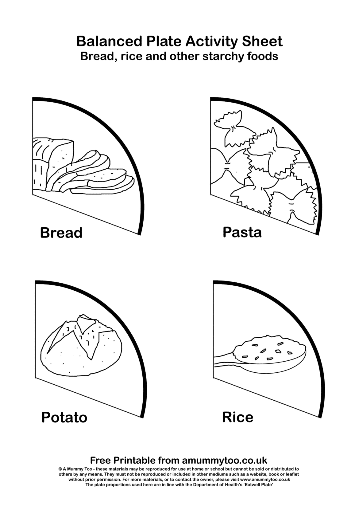 Balanced plate activity sheet with different carbohydrates including potato, bread, pasta and rice.