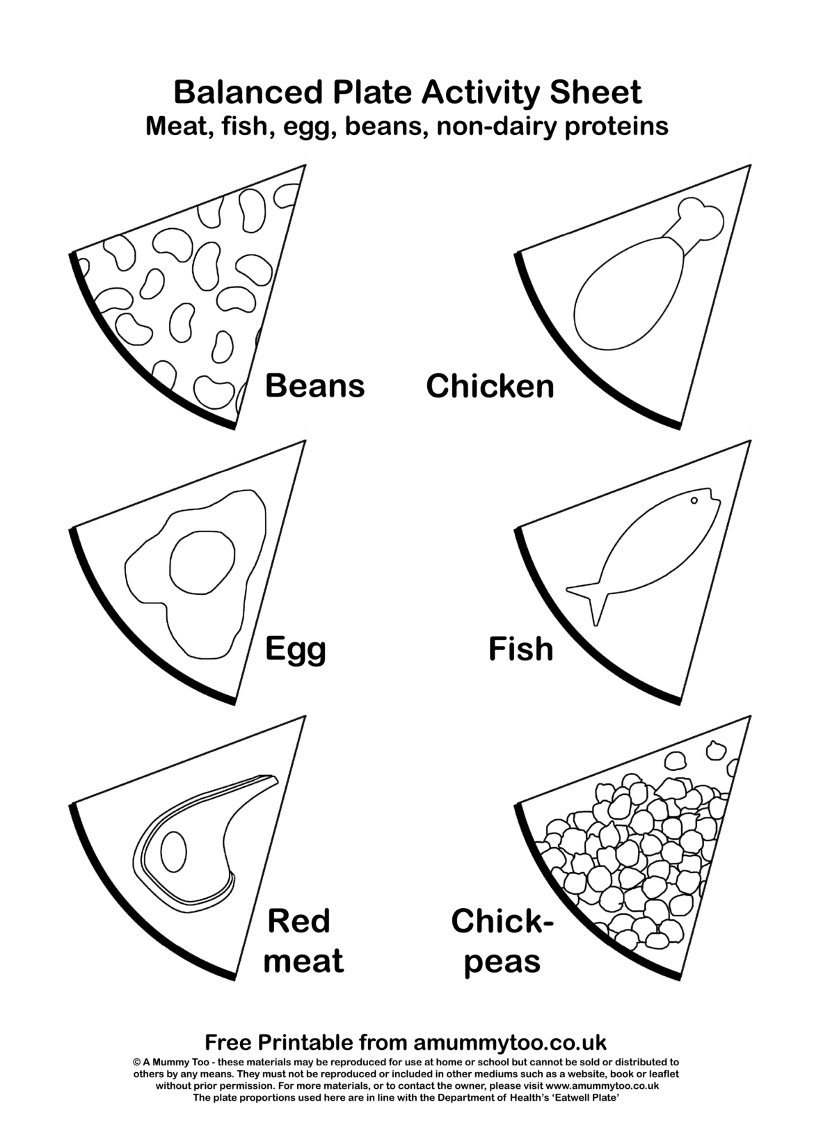 Balanced plate black and white activity sheet that demonstrates protiens such as beans, chicken, egg and fish.