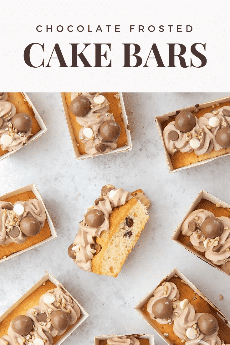 Multiple chocolate chip mini-loaf cake with chocolate frosting on a white table. At the top of the image there's some brown text describing the image for Pinterest.