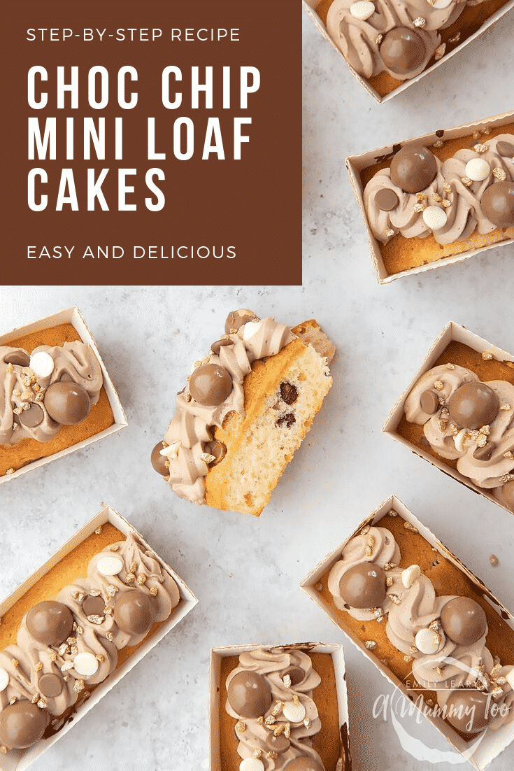 Overhead shot of chocolate chip mini-loaf cake with chocolate frosting on a white table. In the top left hand corner there's some white text on a brown background describing the image for Pinterest.