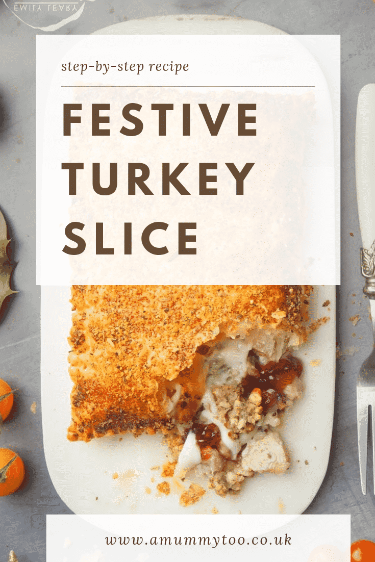 A close up of a festive slice cut open. Over the top of the image there's some text describing it for Pinterest.