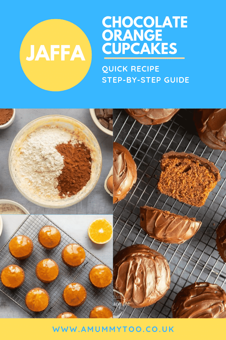 Three process images demonstrating how to make the jaffa chocolate orange cupcakes. At the top of the image there's some text describing the image for Pinterest.