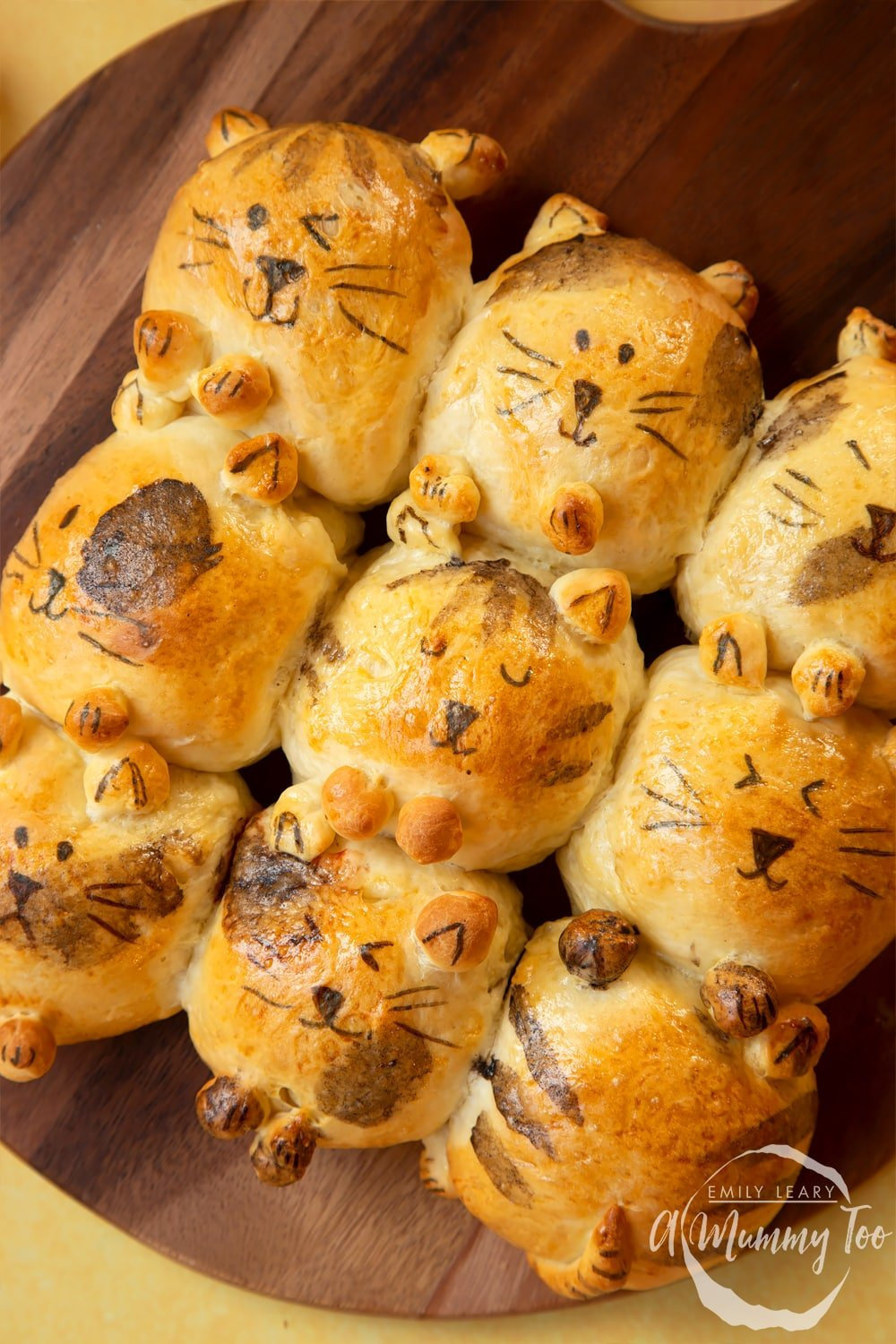 Kim-Joy's Tangzhong Cat Buns - nine bread rolls on a board, shaped and decorated to resemble cats