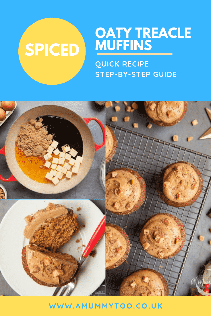 Graphic text SPICED OATY TREACLE MUFFINS QUICK RECIPE STEP-BY-STEP GUIDE above overhead shot of muffin with a fork on the side served on a white plate with a mummy too logo in the lower-right corner