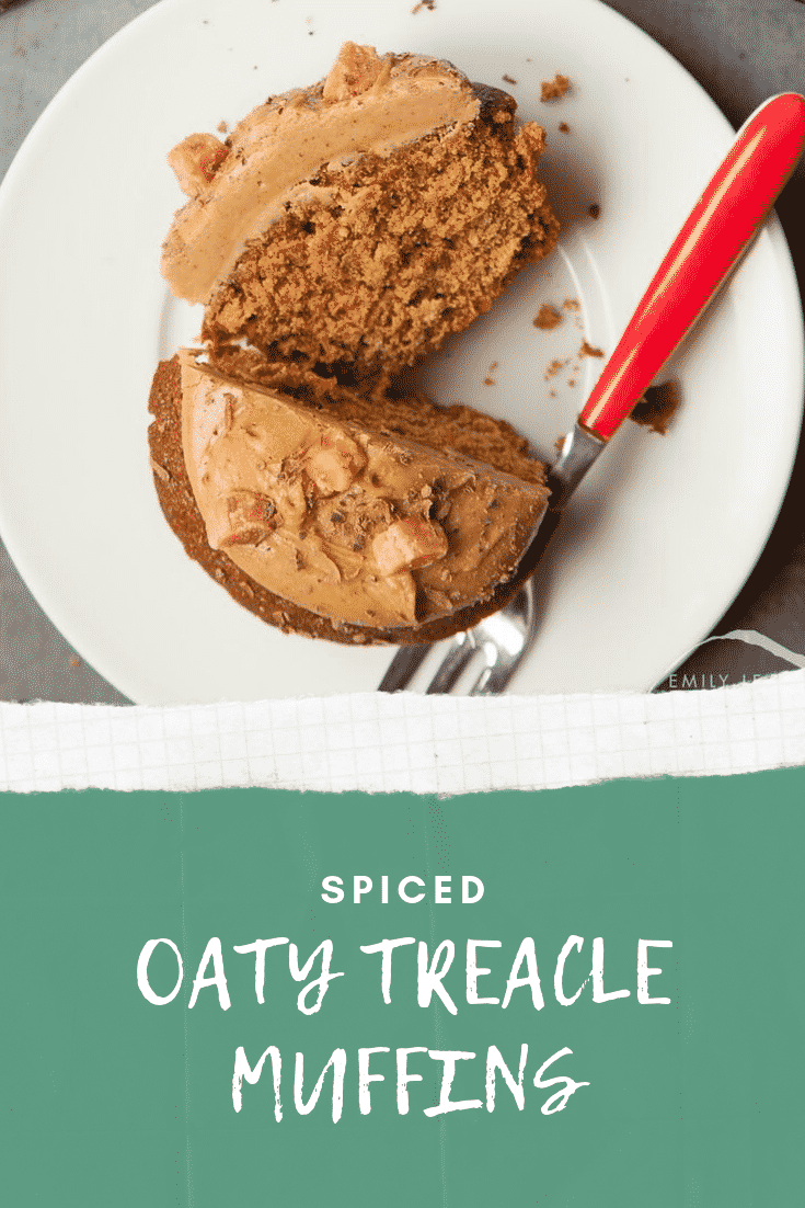 Graphic text SPICED OATY TREACLE MUFFINS below overhead shot of muffin with a fork on the side served on a white plate
