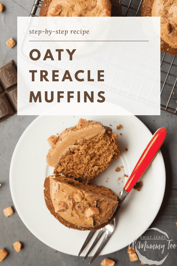 Graphic text step-by-step recipe OATY TREACLE MUFFINS above overhead shot of muffin with a fork on the side served on a white plate with a mummy too logo in the lower-right corner
