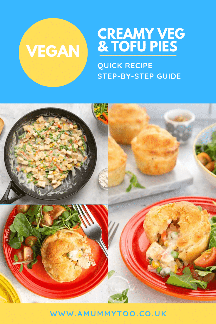 Three process images demonstrate how the cream veg and tofu pies have been made. At the top of the image there's some text describing the image for Pinterest.