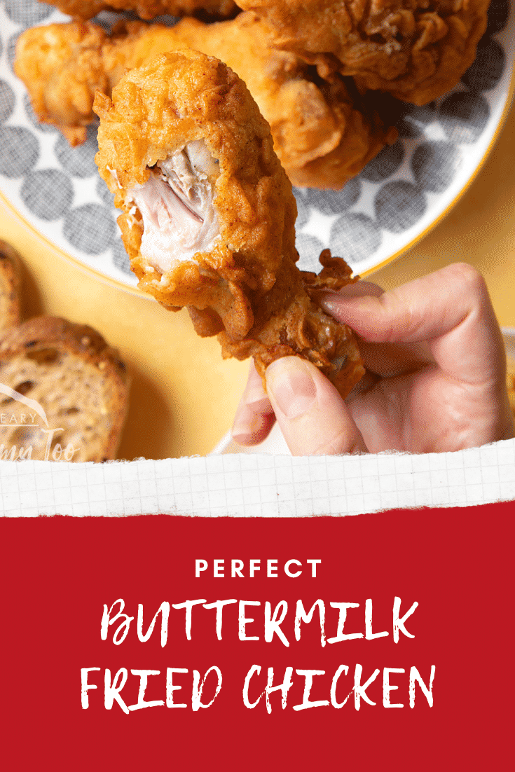 Gordon Ramsay's buttermilk fried. A hand holds a well-coated drumstick.