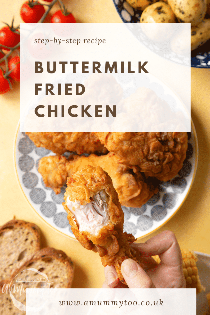 Gordon Ramsay's buttermilk fried chicken arranged on a plate. A hand holds a well-coated drumstick, with a golden seasoned coating. A heading states, Step by Step Recipe Buttermilk Fried Chicken