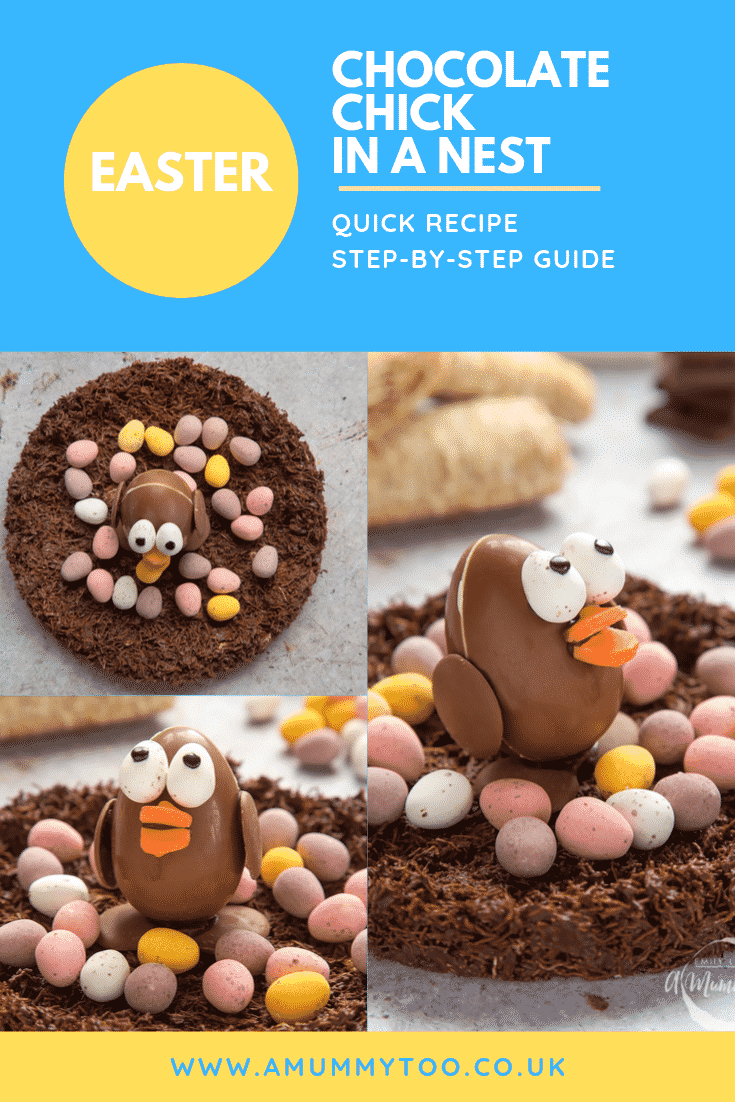 graphic text STEP-BY-STEP RECIPE EASTER CHOCOLATE CHICK EASY AND DELICIOUS above Side angle shot of easter egg chocolate